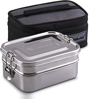 URBANHUT Stainless Steel Bento Box for Adults - Kids, Wide Divided Eco Lunch Food Containers, Plastic Free Metal Boxes Tiffin Lunchbox with Lunch Bag for Salad, Meat, Veggies (Duo)