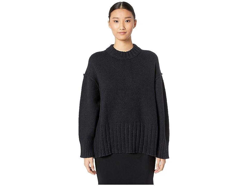 GREY Jason Wu Wool Blend Crew Long Sleeve Sweater (Midnight) Women