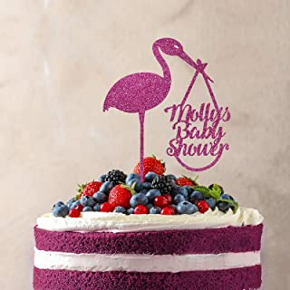 Personalised delivery stork baby shower cake topper. Name&#