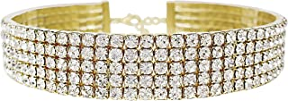 LuxeLife Gold Rhinestone Choker 3 5 8 Row Women's Crystal Necklace Diamond Collar with 5