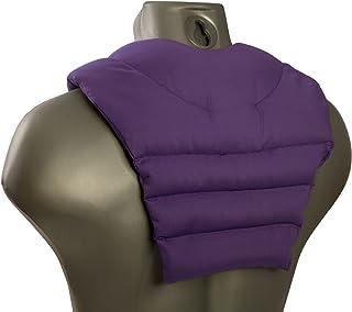 Saco térmico de semillas - violeta - Cojín para el cuello con parte dorsale - Cojín cervical caliente para la espalda - Almohada térmica - Semillas de lino
