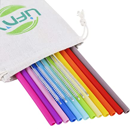 "Reusable Silicone Straws for 30&20Oz Tumblers-12Pcs 10"" Regular Size Drinking Straws for Yeti/Rtic/Ozark -Silicone Straws BPA Free for Kids + 6Pcs Brushes + 1 Linen Storage Pouch"