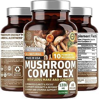 N1N Premium Mushroom Complex [10X Powerful Mushrooms] with Reishi, Lions Mane, Cordyceps, Chaga, Turkey Tail and Maitake t...