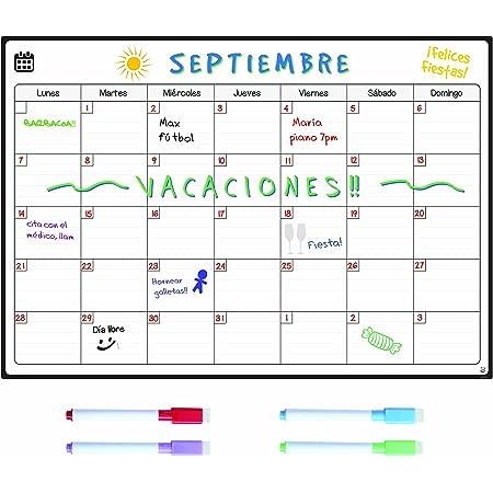 Smart Panda Calendario Magnético para Nevera - Ideal Planificador de Menú, Recordatorio, Lista de la Compra - Pizarra Magnética Incluye 4 Rotuladores de Color - Mensual - En Español