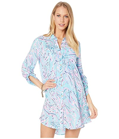 Lilly Pulitzer Natalie Cover-Up (Bayside Blue Under The Moon) Women