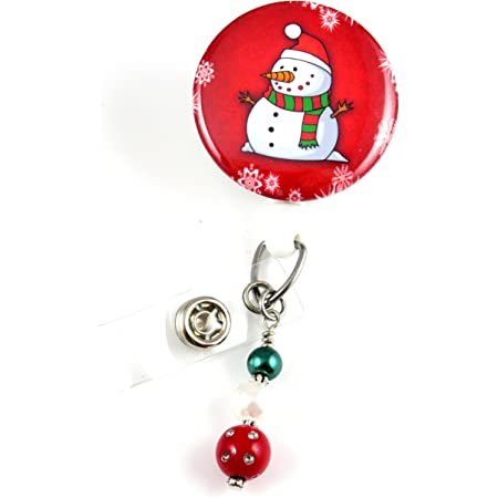Set of 1 Glitter Badge Reel,Snowgirl Badge,Snowman Badge Holder ID Badge,Medical,Nurse Badge-Badge Reel Clip Winter ID Badge