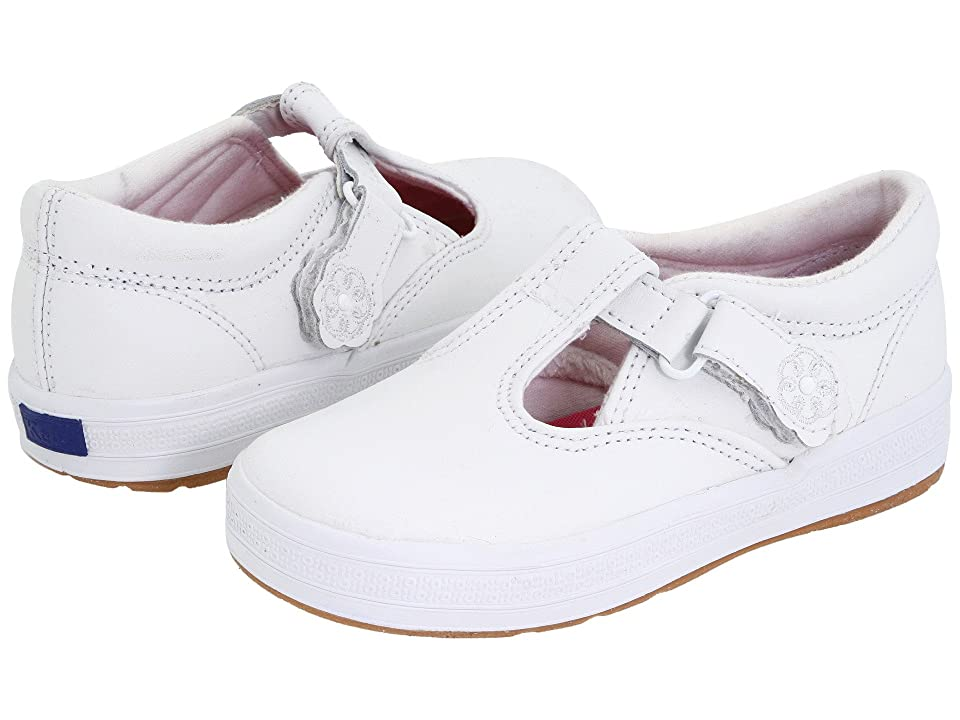 Keds Kids Daphne T-Strap 2 (Toddler/Little Kid) (White Leather) Girls Shoes