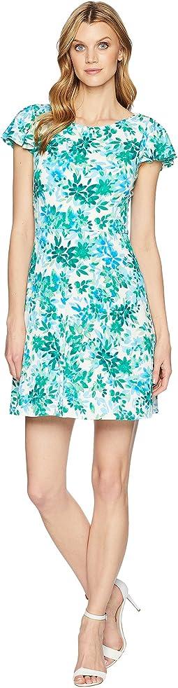 Flower Swirl Print Matte Jersey Dress