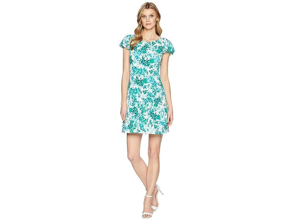 London Times Flower Swirl Print Matte Jersey Dress (Green) Women