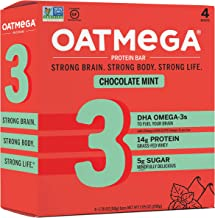 Oatmega Protein Bars, Chocolate Mint, Healthy Snacks Made with Omega-3 and Grass-Fed Whey Protein, Gluten Free Protein Bar...