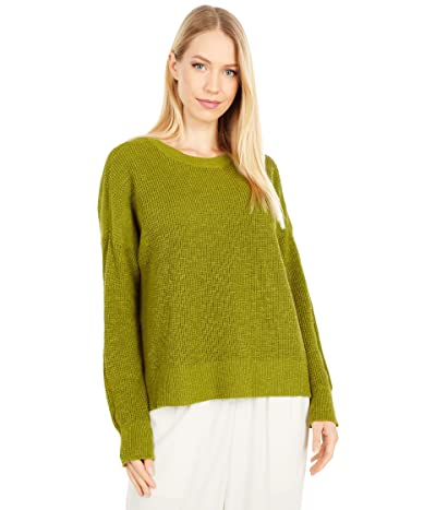 Eileen Fisher Organic Cotton Linen Slub Crew Neck Top (Mustard Green) Women