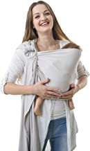 100% Organic Cotton Baby Wrap Ring Sling Carrier,Extra Soft Baby Sling Carrier Wrap with Rings,Adjustment Nursing Cover,Lightweight Wrap(Gray)