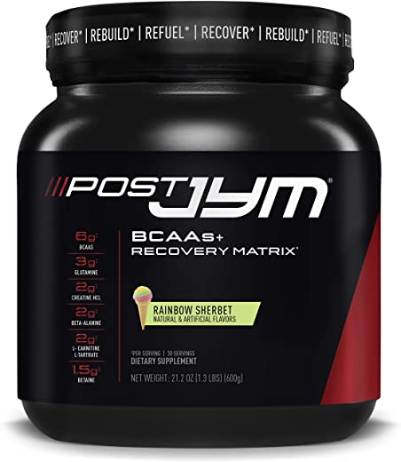 Post JYM Active Matrix - Post-Workout with BCAA's, Glutamine, Creatine HCL, Beta-Alanine, and More | JYM Supplement Science | Rainbow Sherbert Flavor, 30 Servings, 21.2 oz.
