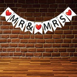 "Wobbox Black & Red ""Mr & Mrs"" Bunting Banner, Wedding Decoration Item, Pre-Wedding Banner, Bachelorette Banner, Bacheloret..."