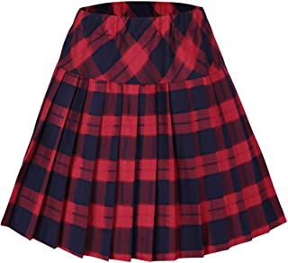 Urban CoCo Women's Elastic Waist Tartan Plaid Pleated School Skirt