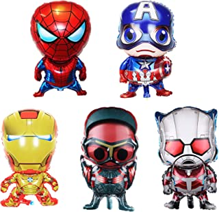 5-pack Superhero Birthday Party Mylar Foil Balloon Avengers Super Hero Birthday Party Supplies Party Decorations
