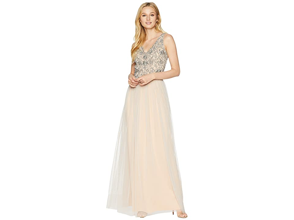 Adrianna Papell Long Gown with Beaded Bodice and Tulle Skirt (Silver Nude) Women