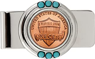 Coin Money Clip - Lincoln Union Shield Penny | Brass Moneyclip Layered in Silver-Tone Rhodium | Genuine Turquoise Stones | Holds Currency, Credit Cards, Cash | Genuine U.S. Coin | Certificate