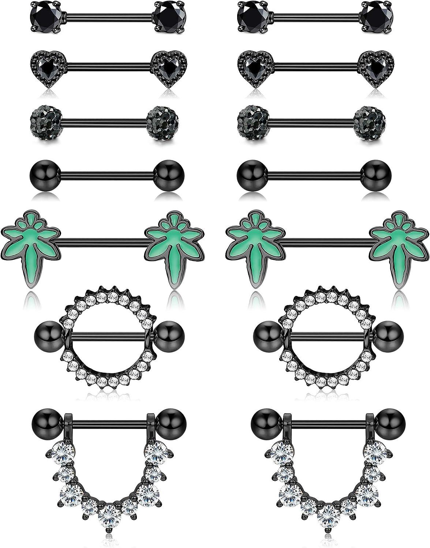 Drperfect 7Pairs Nipple Rings for Women Men Tongue Rings 14G Stainless Steel Nipplerings Piercing Barbell Body Jewelry for Nipple