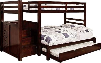 247SHOPATHOME Carvali Bunk Bed, Double, Dark Walnut