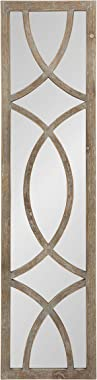 "Kate and Laurel Tolland Decorative Wooden Panel Wall Mirror, 12"" x 48"", Rustic Brown, Farmhouse Windowpane Accent Pie"