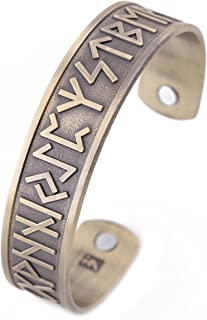 VASSAGO Vintage Norse Viking Runes Cuff Healthcare Magnetic Therapy Bracelet Gift Jewelry for men women
