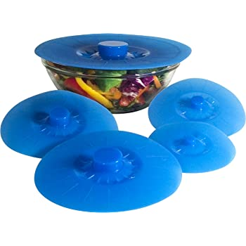 Silicone Bowl Lids Blue Set of 5 Reusable Suction Seal Covers for Bowls, Pots, Cups. Food Safe. Natural grip, interlocking handles for easy use and storage.
