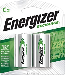 Energizer Rechargeable C Batteries, NiMH, 2500 mAh, Pre-Charged, 2 count (Recharge Universal) - Packaging May Vary