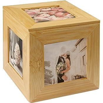 Cubo de la foto de bambú | Cuadro de cuadro de imagen | Caja de fotos | Caja de recuerdo de madera | Marco de fotos | Caja decorativa | M&W: Amazon.es: Hogar