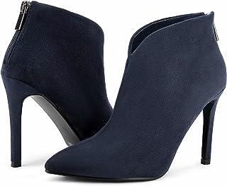 Greatonu Botas de tacón alto para mujer, sexy, con forma de V, puntera puntiaguda, botines de tobillo