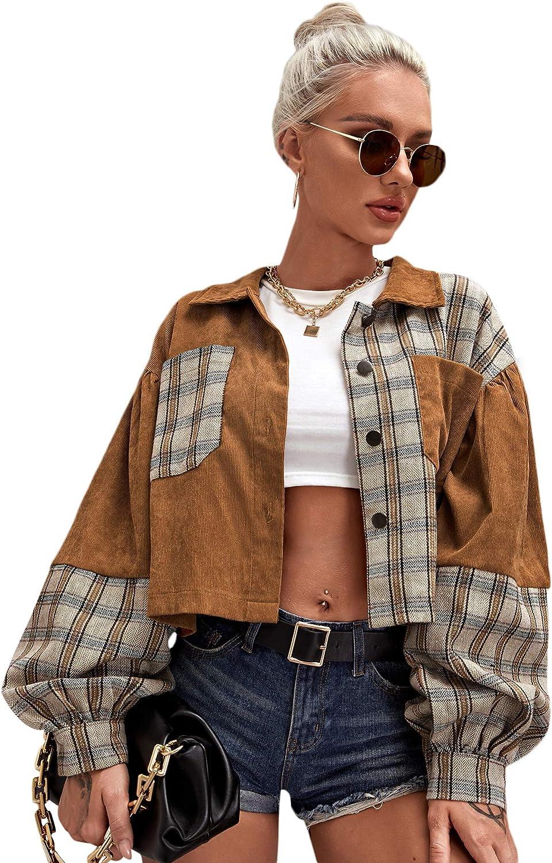 Verdusa Women's Puff Long Sleeve Pocket Front Plaid Casual Tartan Outerwear Corduroy Jacket