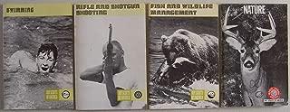 Lot of 4 vintage Boy Scouts of America merit badge pamphlets: No. 3299 Swimming 1975 printing of 1960 ed., No. 3311 Rifle & Shotgun Shooting 1976 printing of 1967 ed., No. 3307 Fish & Wildlife Management 1972 printing, No. 3285 Nature 1970 printing