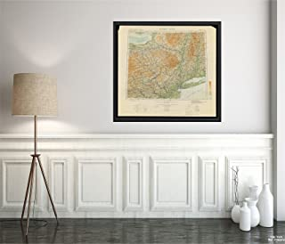 1912 Map Hudson River|New York International of The World on The Scale 1:1,000,000 Hudson River sh|Vintage Fine Art Reproduction|Ready to Frame