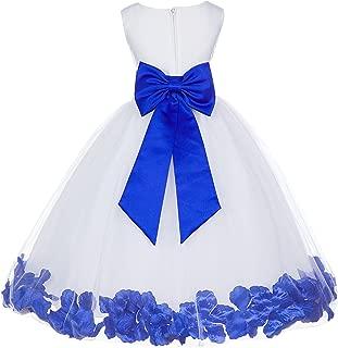 White Tulle Rose Petals Flower Girl Dress Tulle Dress Christening Dress 302T