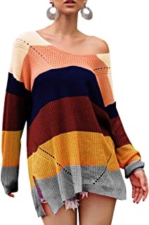 Tulucky Womens Rainbow Hit Color Sweater Loose Long Sleeve Knit Pullover