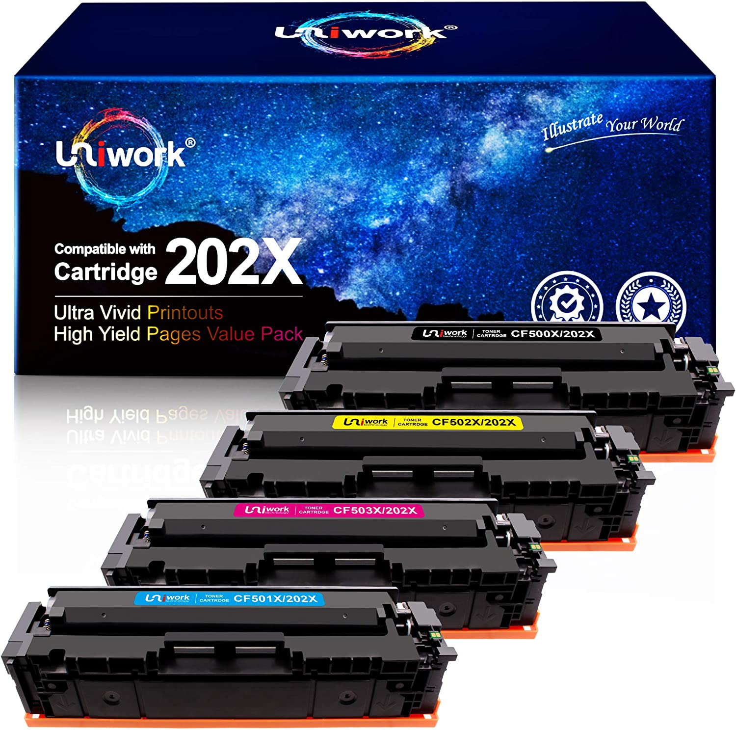 Uniwork Compatible Toner Cartridge Replacement for HP 202X 202A CF500X CF500A use with Laserjet Pro MFP M281fdw M281cdw M254dw M281 M281dw M280nw Toner Printer Tray (Black, Cyan, Magenta, Yellow)