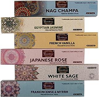 raajsee Incense Sticks 6 Pack Variety Set 15gm Each, Nagchampa- Frankincense -Jasmine - vanila-Japanese Rose-White Sage,10...