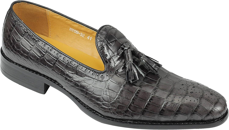Xposed Mens Grey Black Real Genuine Leather Crocodile Print Tassel Loafers Retro Vintage shoes