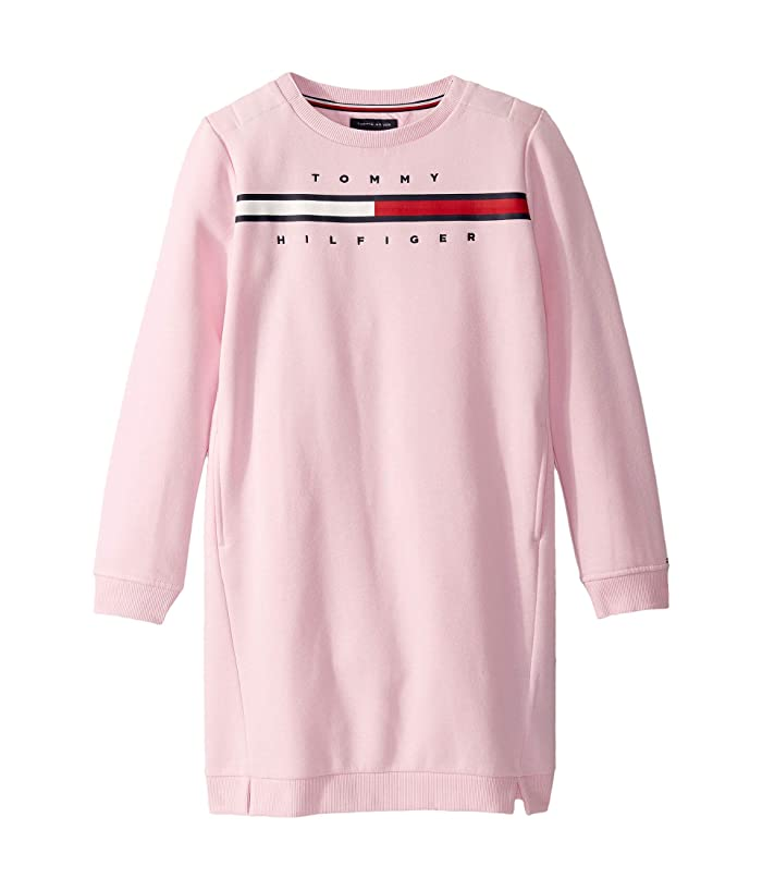 Tommy Hilfiger Adaptive  Dress with VELCRO Brand Closure at Shoulders (Little Kids/Big Kids) (Pink Lady) Womens Clothing