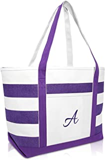 DALIX Monogrammed Beach Bag and Totes for Women Personalized Gifts Purple A - Z