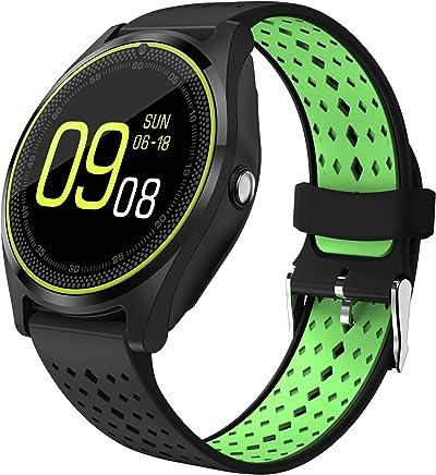 SmartWatch Bluetooth Touch Screen, aktivite takip saat akıllı adım sayacı-A mesafe Vivovace saat telefon bildirimleri çağrı/SMS/Whatsapp bileklik Andriod iOS için V9
