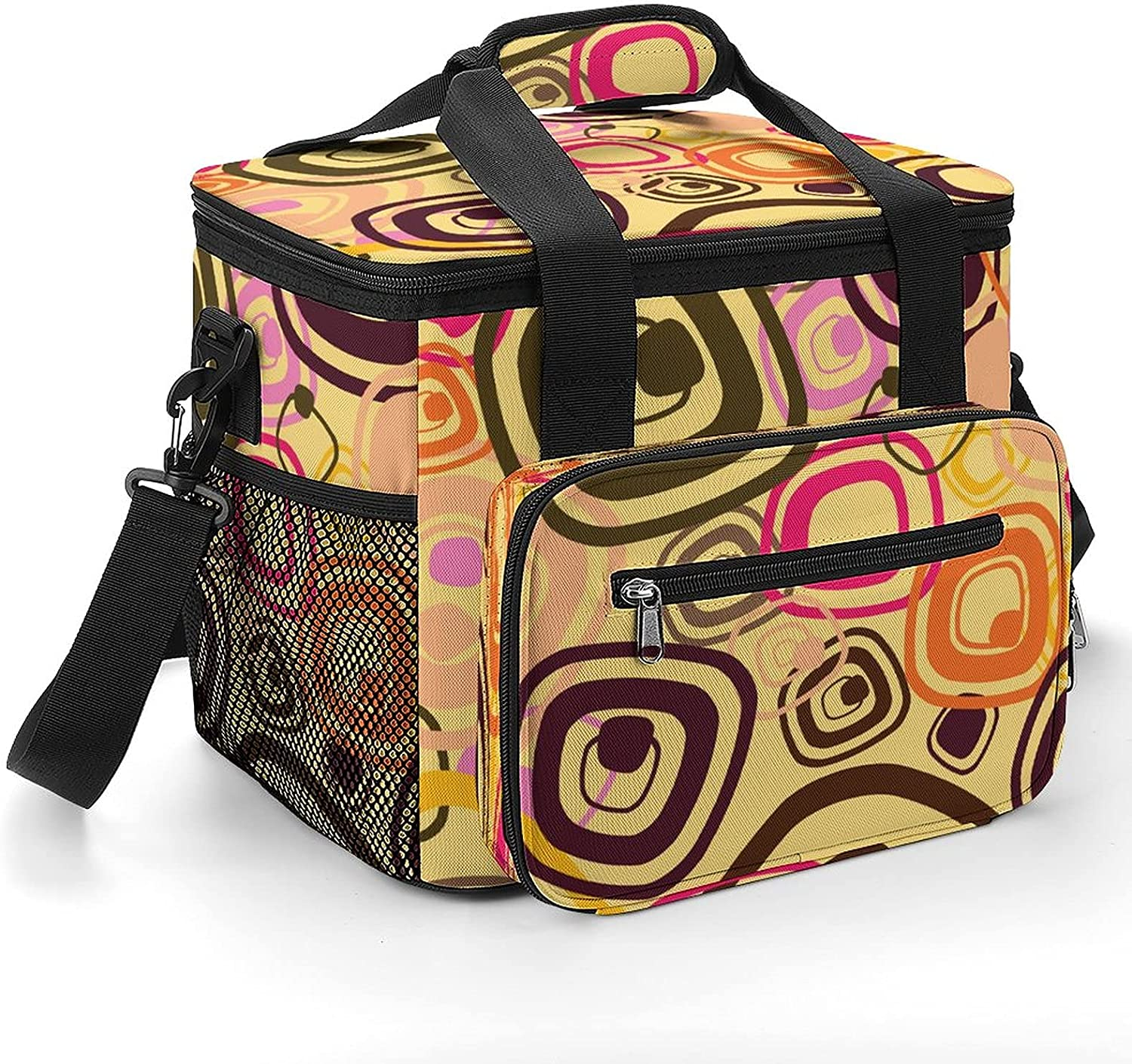 Vintage Pattern Cooler Bag with Insulated It is very popular Milwaukee Mall Shoulder Leakpro Strap