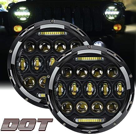 4 LED Fog Lights for 1997-2017 Jeep Wrangler K JKU TJ LJ Rubicon Sahara Unlimited 7 Inch Black LED Headlights