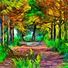 CSFOTO 8x8ft Background for Abstract Magic Forest Colorful Photography Backdrop Mystery Fantasy Tropical Oil Painting Room Decoration Photo Studio Props Children Kid Portrait Vinyl Wallpaper