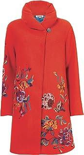 IVKO Long Merino Wool Coat with Embroidered Flower Designs, Orange
