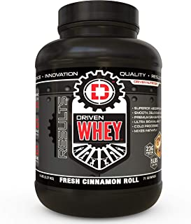 Driven WHEY- Grass Fed Whey Protein Powder: Delicious, Clean Protein Shake- Improve Muscle Recovery with 23 Grams of Protein with Added BCAA and Digestive Enzymes (Cinnamon Roll, 5 lb)