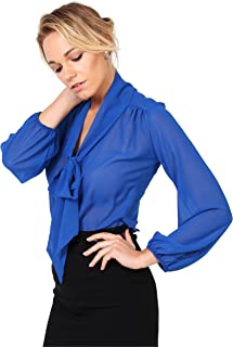 KRISP Blusa Mujer Cuello Lazo Elegante