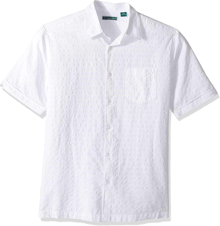Choose SZ//color Details about  /Cubavera Men/'s Short Sleeve Houndstooth-Print Shir