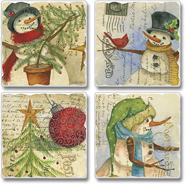 Highland Home Holiday Assorted Coaster Set Post Card Christmas 4 Pack