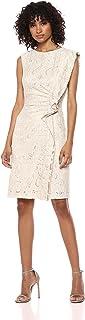 Tahari by Arthur S. Levine Women's Knit Boat Neck Dress with Side Ruffle